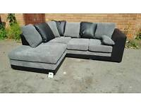 Fantastic BRAND NEW black and grey jumbo cord corner sofa .corner to any side.can deliver