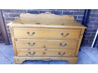 Antique pine matching bedroom set: Single bed, chest of drawers and full length mirror