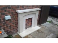 Composite stone fireplace
