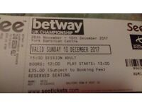 UK Snooker Championship Final - 2 tickets for afternoon session 1pm Sunday 10th December
