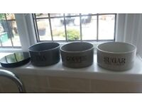 Next stacking tea coffee sugar canister set tones of grey