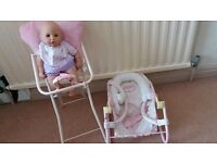 Baby Annabell Doll High Chair and rocker