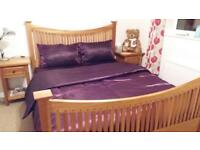 Eucalyptus Wooden Kingsize Kind Bed, 2 Bedside Tables and Chest of Drawers Set