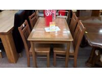 Dark Wood Tiled Table + 4 Chairs