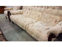 Cintique Wood-Framed 3-Seater Sofa and Reclining Armchair in Great Condition