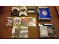 Xbox 360 4 controllers 6 games 2 hardrives + parts console + hdmi adapters and all leads 120 ONO!!!