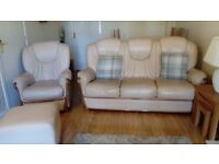 three seater leather sofa with chair and pouffe