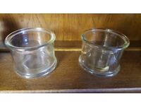 Two Glass Round-rimmed Cylindrical Pots in Good Condition