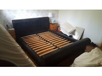 King size black faux leather bed frame for sale