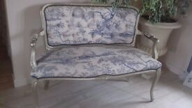 Blue Toille cherub fabric, gilt painted wood surround Salon Sofa - length 4ft