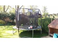 Trampoline large with safety net, good quality and functional but very tatty