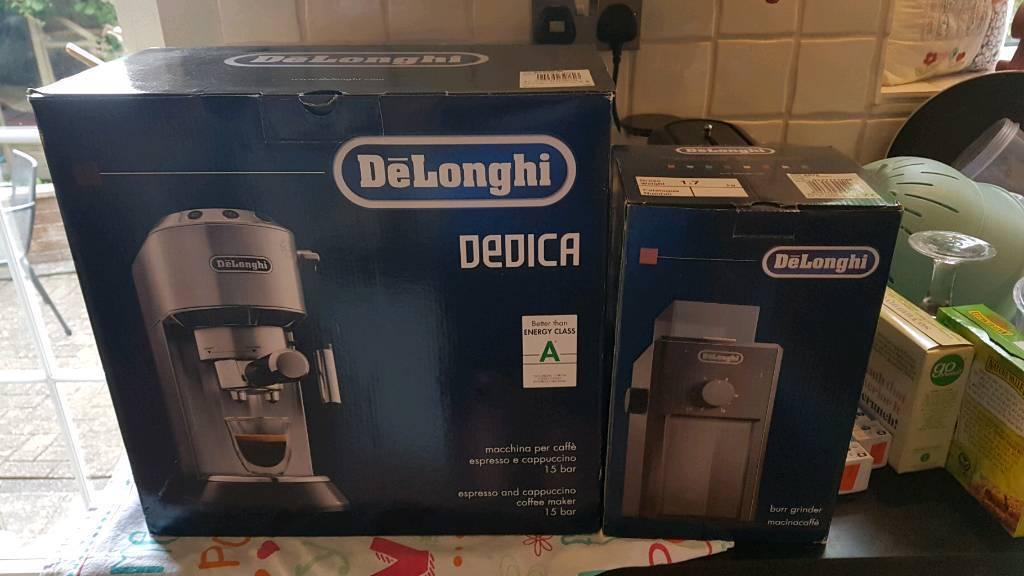 DELONGHI DEDICA COFFEE MACHINE WITH DELONGHI BURR GRINDER AND ATTACHMENTSin Belper, DerbyshireGumtree - DELONGHI DEDICA COFFEE MACHINE WITH DELONGHI BURR GRINDER AND ATTACHMENTS, PLUS DESCALER. BOTH IN ORIGINAL BOXES AND WORK PERCECT. GREAT CONDITION
