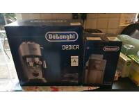 DELONGHI DEDICA COFFEE MACHINE WITH DELONGHI BURR GRINDER AND ATTACHMENTS