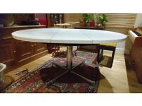 white round/oval retro dining table
