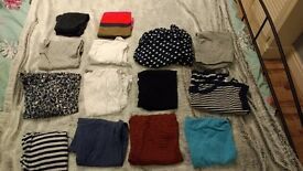 14 maternity tops and 1 pair of jeans size 8