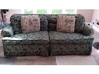 Free Green brocade, comfy 3 seater Sofa