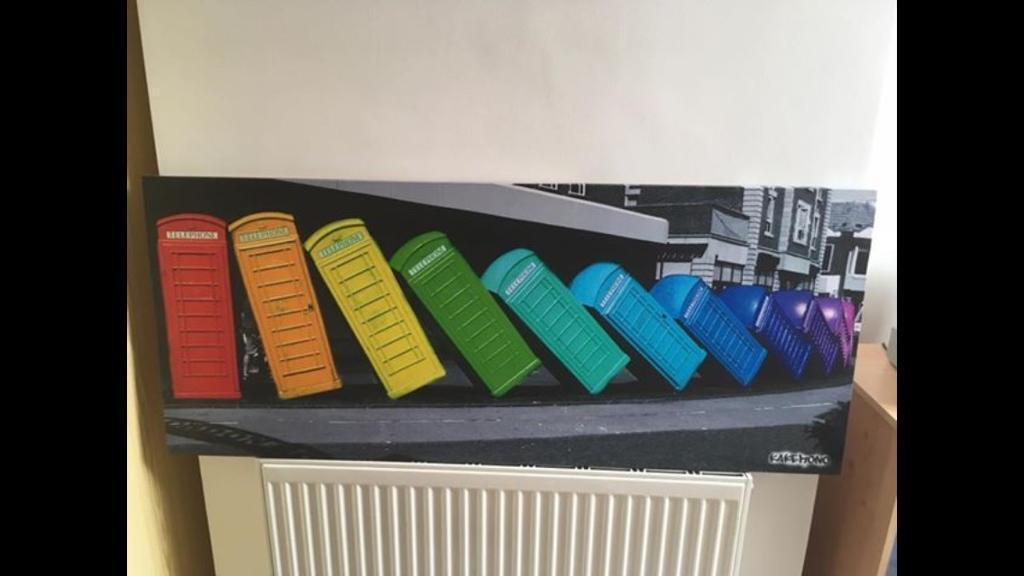 Large canvas of rainbow Phoneboxes