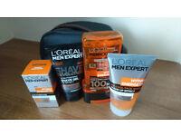 BN Mens Loreal Expert Washbag - Shaving Gel - Face Wash - Moisturiser - Shower Gel