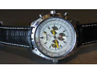 NEW Rare Breitling for Bentley 1884 Automatic Mens Watch in White with Breitling Leather Strap