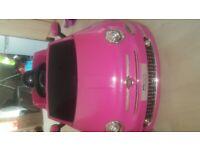 Pink Fiat 500 ride along