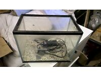 small plastic fish tank with filter and stones etc