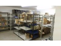 Steel/MDF shelving storage units. Very versatile,one mtr bays. 8 to 10mtrs in length.