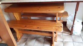 Pine table ad bench set