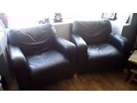 TWO MATCHING LEATHER ARM CHAIRS IN VERY GOOD CONDITION ...FREE LOCAL DELIVERY