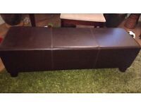 Brown Leather ottoman vgc
