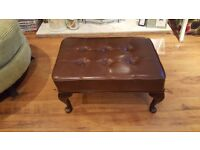 Vintage Retro Chesterfield Style Footstool Coffee Table Side Table with Queen Anne Style Legs