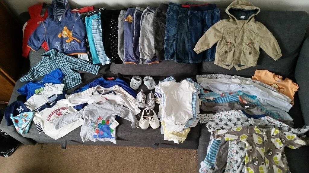 a3c0ad40e325 Boys clothes 9-12 months large baby clothes bundle 66 items