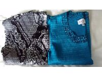 2 x East sleeveless, silky tops with sparkly beading - hardly worn and excellent condition size M/L.