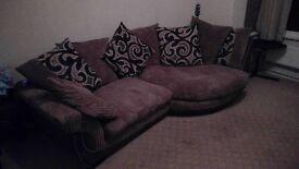 3+ seater fabric sofa with cosy corner.