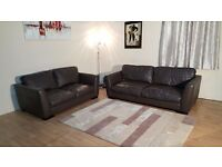 Ex-display Sisi Italia Parma brown leather 3+2 seater sofas