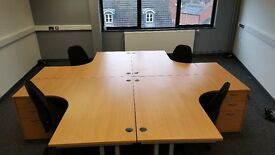 4 x As New Beech office desks, drawer units and chairs can deliver and assemble if needed