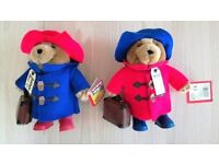 NEW Pair Original Paddington Bear Soft Toys Blue Red Case Hat Boots With Label CE Standard CHRISTMAS
