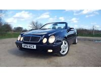 MERCEDES CLK KOMPRESSOR 51 PLATE AUTO CONVERTIBLE 95000 MILES FULL SERVICE HISTORY LEATHER AC ALLOYS