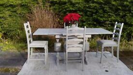 Reduced!! Shabby Chic, 1940's Extending Dining Table & 4 Chairs. Paris Grey. Delivery Available