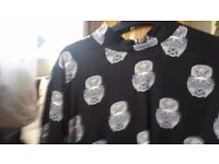 Black h&m ladies blouse . Bold print owls on high neck blouse