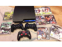 Sony PlayStation 3 (PS3) + 3 Controllers + 9 Games Great Condition