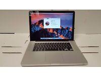 Macbook Pro 15 inch laptop Intel Quad Core i7 processor 500gb hd 8gb ram memory