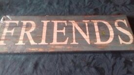 Shabby chic wooden 'Friends' wall hanging.