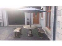 Complete 3 piece concrete patio set