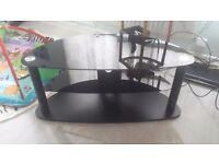 Black TV stand, glass