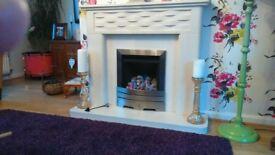 Stone, granite look fireplace c/w gas fire