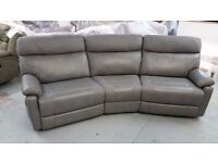 ScS Ralph 4 Seater Curved Manual Recliner Light Grey Sofa **Can Deliver**