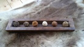 Rustic Wooden Tray with Decorative Balls