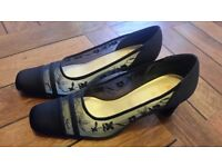 Kays Vintage Look Blue Satin and Lace Shoes