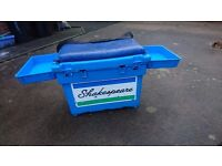 LARGE SHAKESPEARE FISHING TACKLE STORAGE BOX SEAT TRAY CUSHION SHOULDER STRAP GOOD USED CONDITION