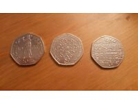 3 X 50p Coins - Benjamin Britten, Battle of Hastings & Girl Guiding